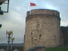 Red flag flies proudly over king johns castle